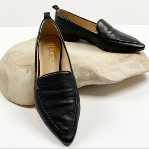 Franco Sarto Black Leather Pointed Toe Flats 7.5
